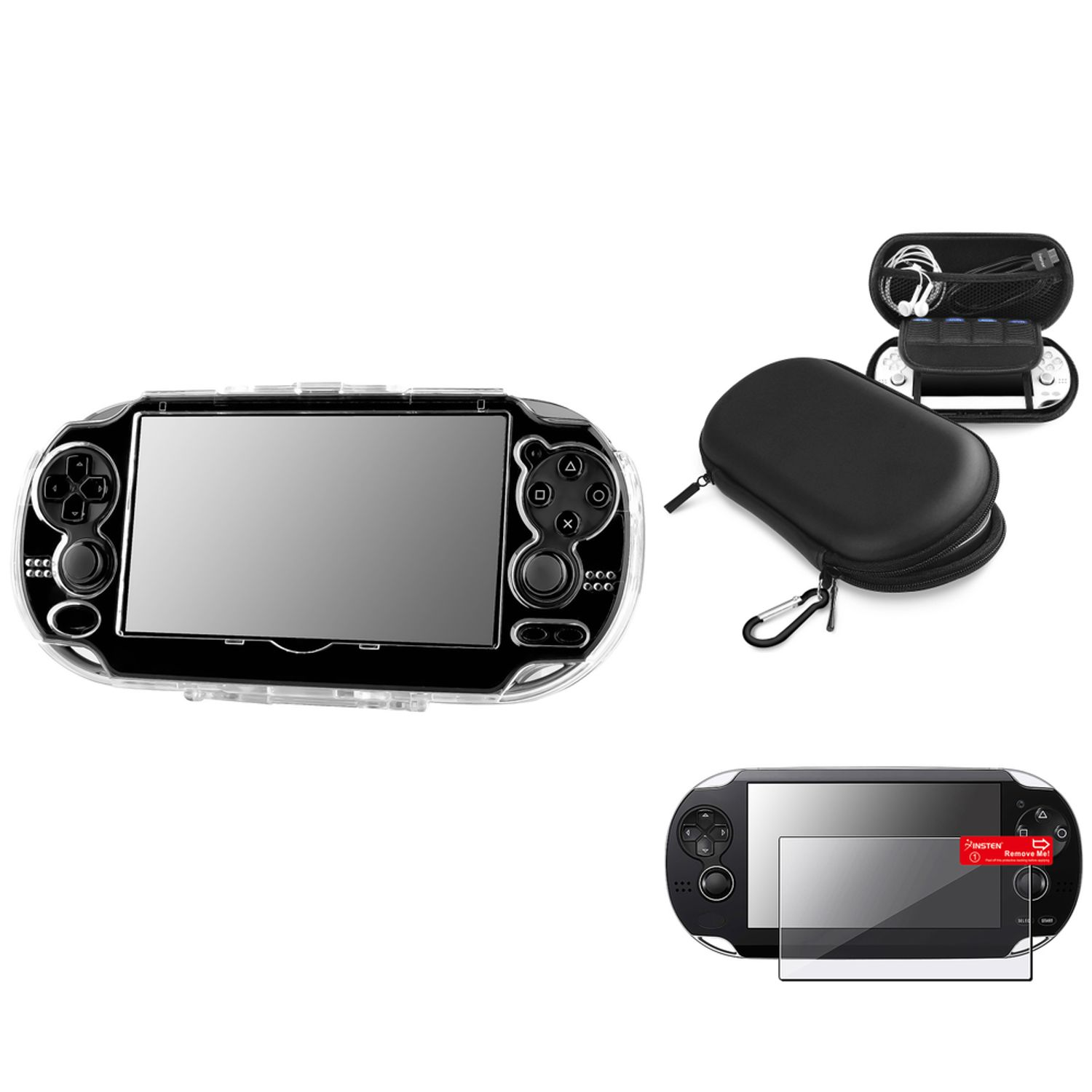 Insten Snap-On Crystal Case+Screen Guard+Black EVA Carry Case For Sony PS Vita PSV
