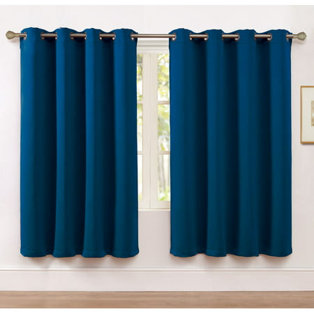 2 Pack: Hotel Thermal Grommet 100% Blackout Curtains - Navy Blue, 63 in. - Cobalt Blue Curtains