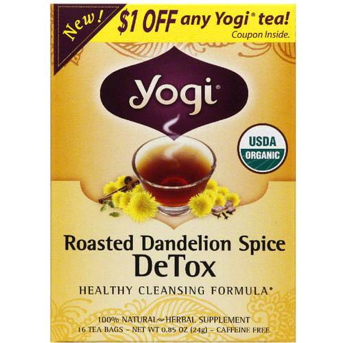 Yogi Tea Yogi Organic Roasted Dandelion Spice DeTox Herbal Supplement Tea, 0.85 oz, (Pack of 6)