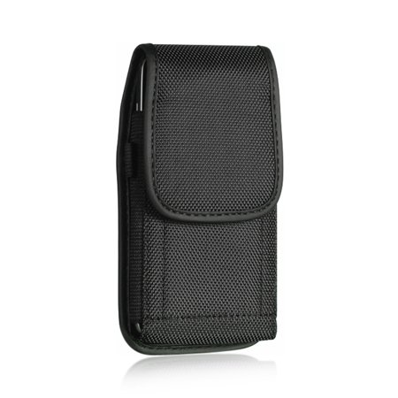 Universal Black Vertical Nylon Holster Pouch Case w/ Metal Belt Clip  D-Link & Velcro Closure - Perfect for HTC One M8  LG G3  iPhone 6  and More! (Htc M8 Phone Case Belt Clip)