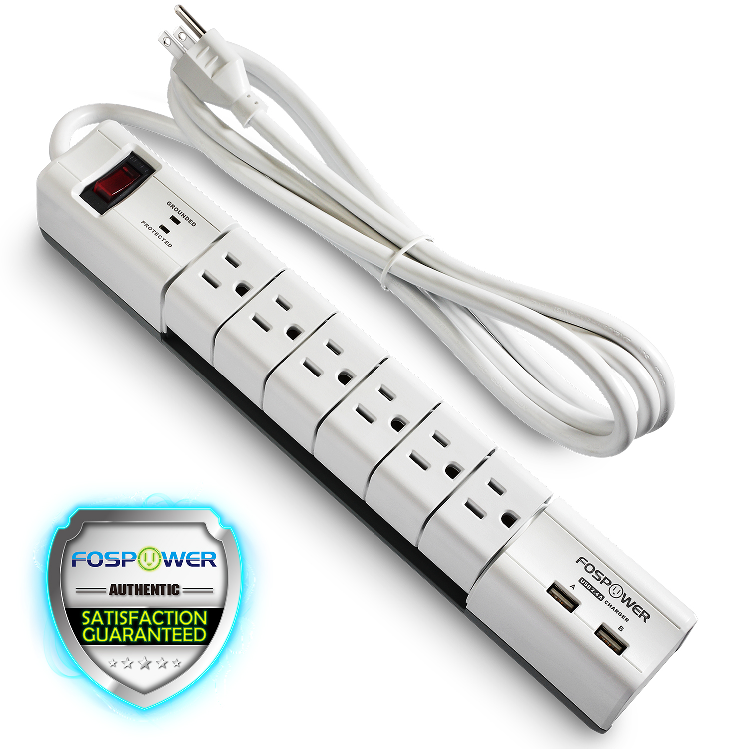 fospower s6su2j5 6 outlet power strip surge protector swivel and 2 usb charging ports ul listed