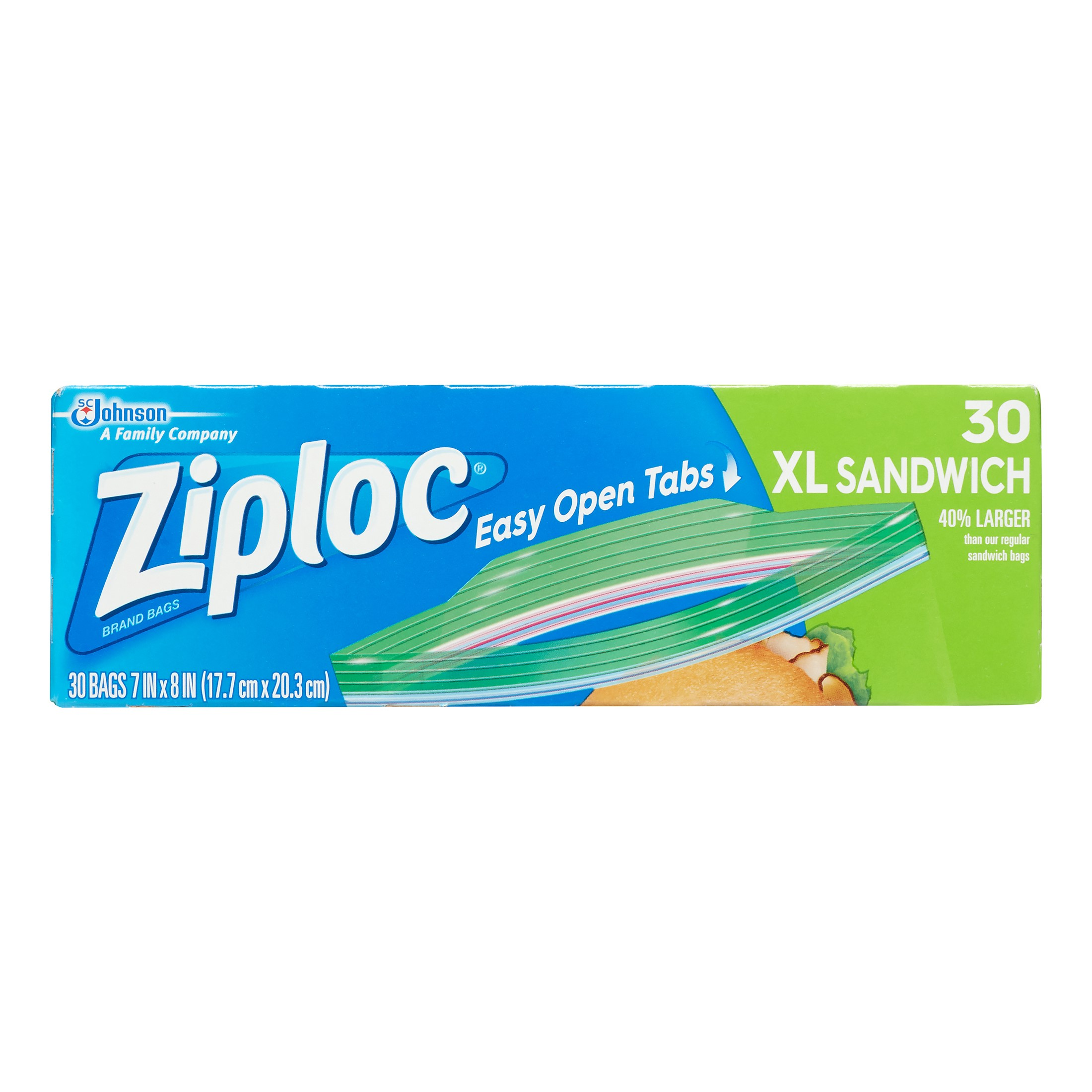 Ziploc Zipper Sandwich Bags, XL, 30 Ct