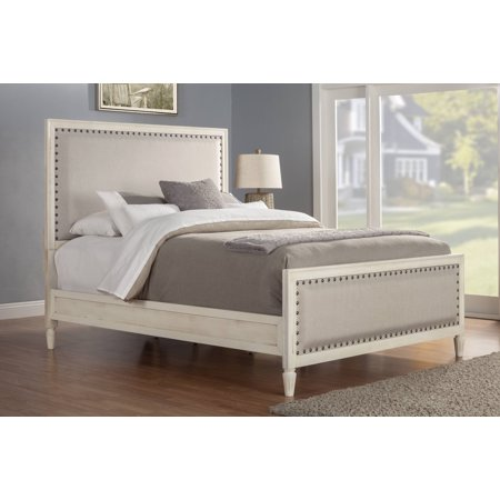 Cambridge Solid Wood King Bed With Upholstered Trim In White