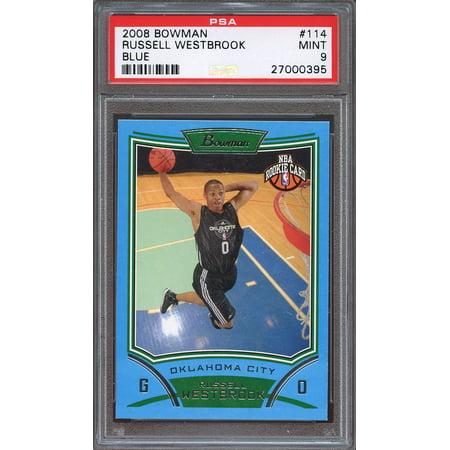2008 09 Bowman Blue  114 Russell Westbrook Okc Thunder Rookie Card  Pop 3  Psa 9
