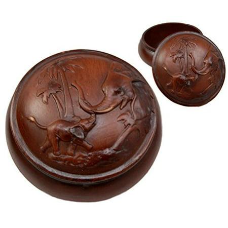 Ebros Gift Faux Wood Resin Safari Elephant with Calf Rounded Jewelry Trinket Decorative Box Figurine 4