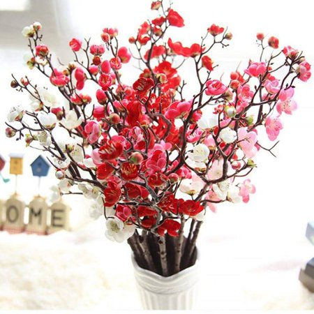 Nicesee Artificial Flower Fake Leaf Plum Blossom Floral Wedding Party Home - Plum Wedding