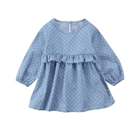 Newborn Baby Clothes Long-Sleeved Dress Denim dot Thin Silk Princess One-Piece Dress