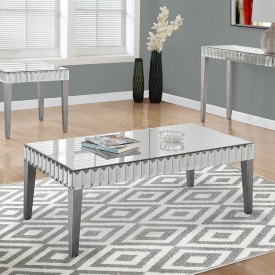 24 X 24 Coffee Table.Monarch Coffee Table 48 X 24 Brushed Silver Mirror