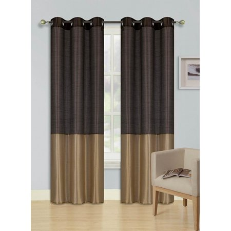 1pc BROWN GOLD (EID) LINED FOAM BACKING BLACKOUT  Faux Silk Drape Panel Top Chrome Metallic Grommet Window Curtain Treatment Drape 2 Shade 37 wide x 63 length