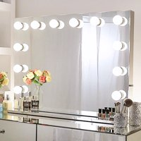 Chende Large Frameless Hollywood Makeup Mirror Tabletop Lighted Vanity Mirror with Dimmer for Dressing Room