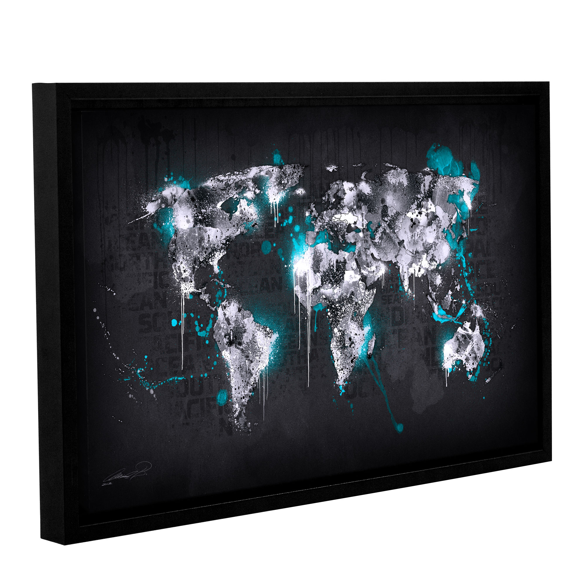 Ice World I' Gallery Wrapped Floater-framed Canvas Art Print