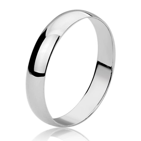 Women's Sterling Silver 4mm Classy Domed Wedding Band Engagement (Enameled Dome Ring)