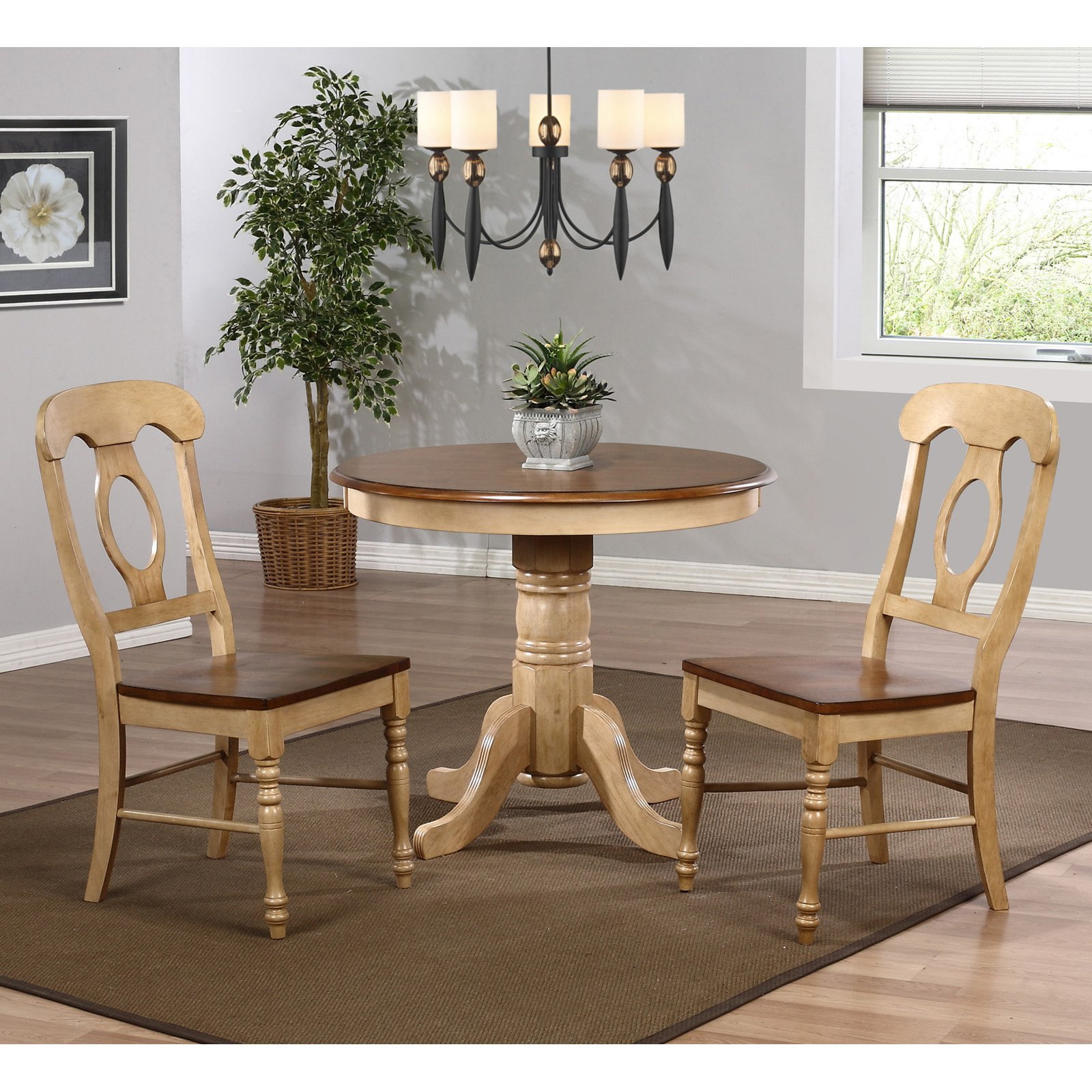 Sunset Trading Brookdale 3 Piece Round Cafe Dining Table Set with Napoleon Chairs
