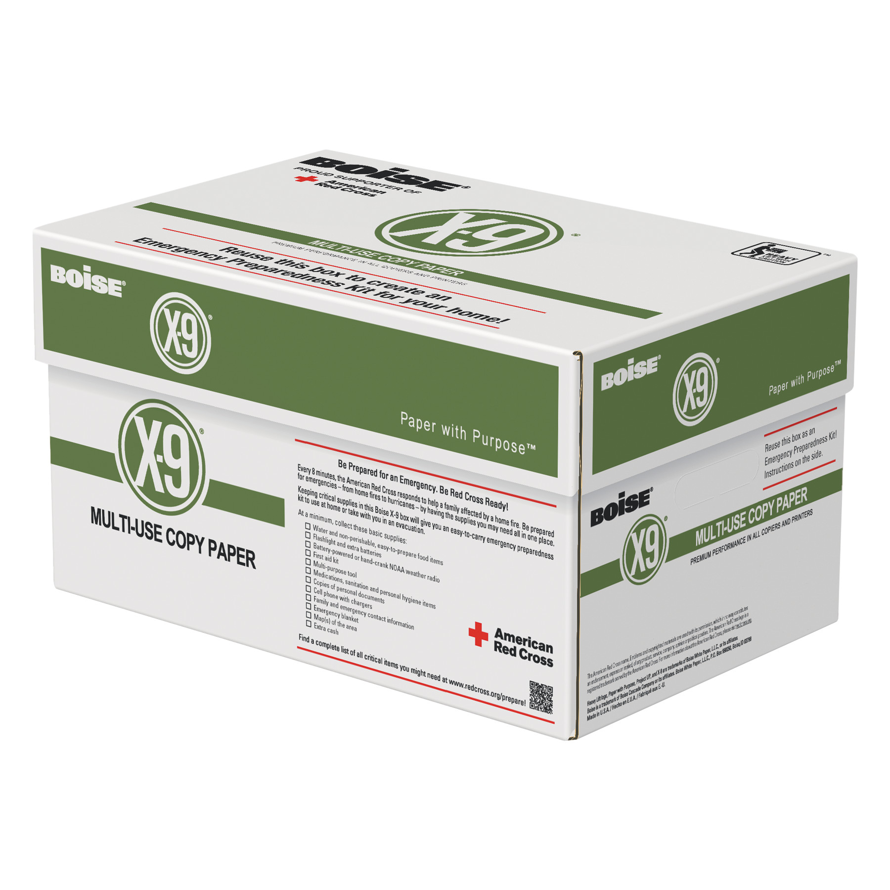 Boise X-9 Multi-Use Copy Paper, 92 Bright, 20lb, 8-1/2 x 11, 5000 Sheets