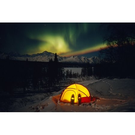 Tent Camping Winter Northern Lights Mile 135 Parks Hwy Ak Mt Mckinley Interior Snowshoes Stretched Canvas - Calvin Hall  Design Pics (17 x 11) Mini 17 Snowshoes