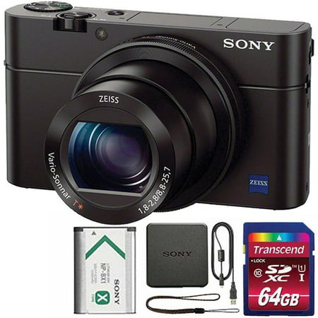 Sony Cyber-shot DSC-RX100 III Built-In Wi-Fi Digital Camera with 64GB SDHC Memory Card (Nikon Camera Point And Shot)