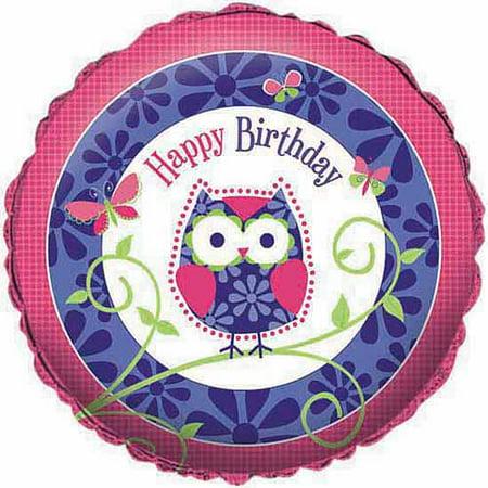 Creative Converting Owl Pal Birthday Metallic Balloon - Owl Birthday Supplies