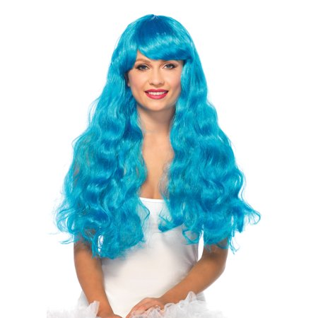 Leg Avenue Neon Star Long Wavy Wig, Neon Blue, One Size](Belle Wigs)