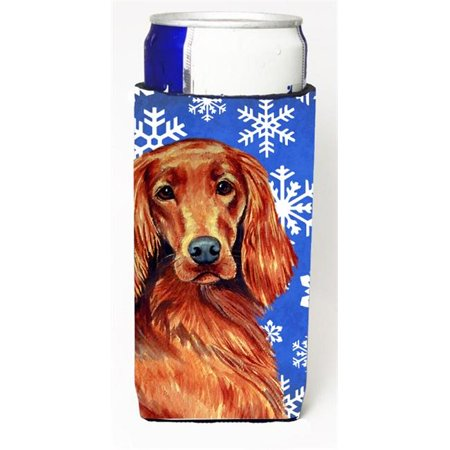 Irish Setter Winter Snowflakes Holiday Michelob Ultra bottle sleeves For Slim Cans - 12 oz.