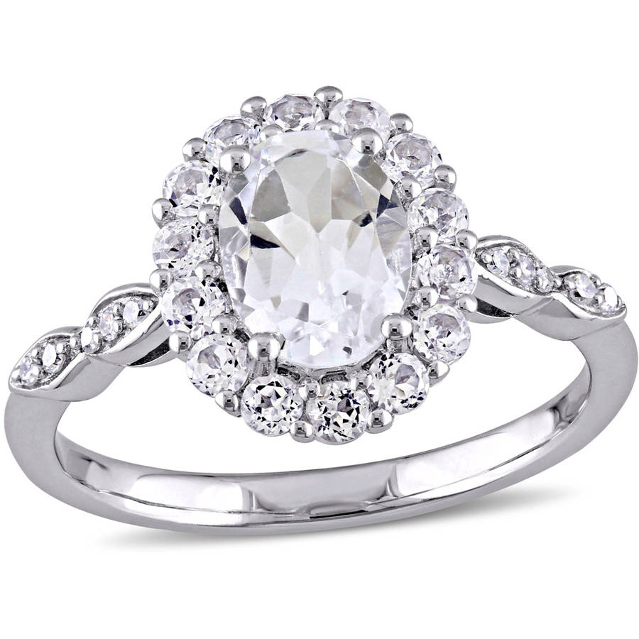Miabella 2-1 8 Carat T.G.W. White Topaz and Diamond-Accent 14kt White Gold Vintage Engagement Ring by Miabella