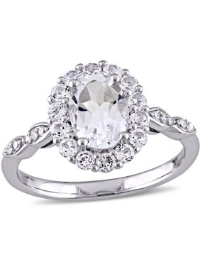 2-1/8 Carat T.G.W. White Topaz and Diamond-Accent 14kt White Gold Vintage Engagement Ring