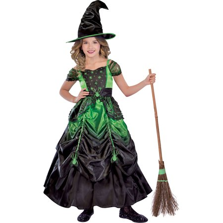 Suit Yourself Gothic Witch Costume for Girls, Includes a Detailed Green and Black Dress and a Witch's Hat