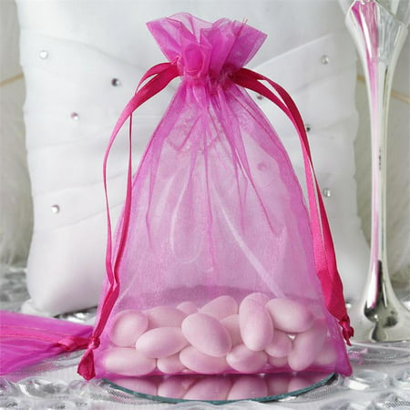 BalsaCircle 10 pcs 5x7 inch Organza Favor Bags - Wedding Party Favors Jewelry Pouch Candy Gift Small Goody