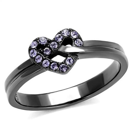 Light Black Stainless Steel & Light Amethyst Crystal Fashion Ring Womens Size 10
