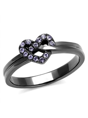 Light Black Stainless Steel & Light Amethyst Crystal Fashion Ring Womens Size 6