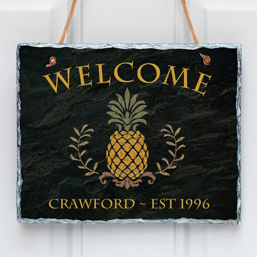 Personalized Pineapple Welcome Wall Slate