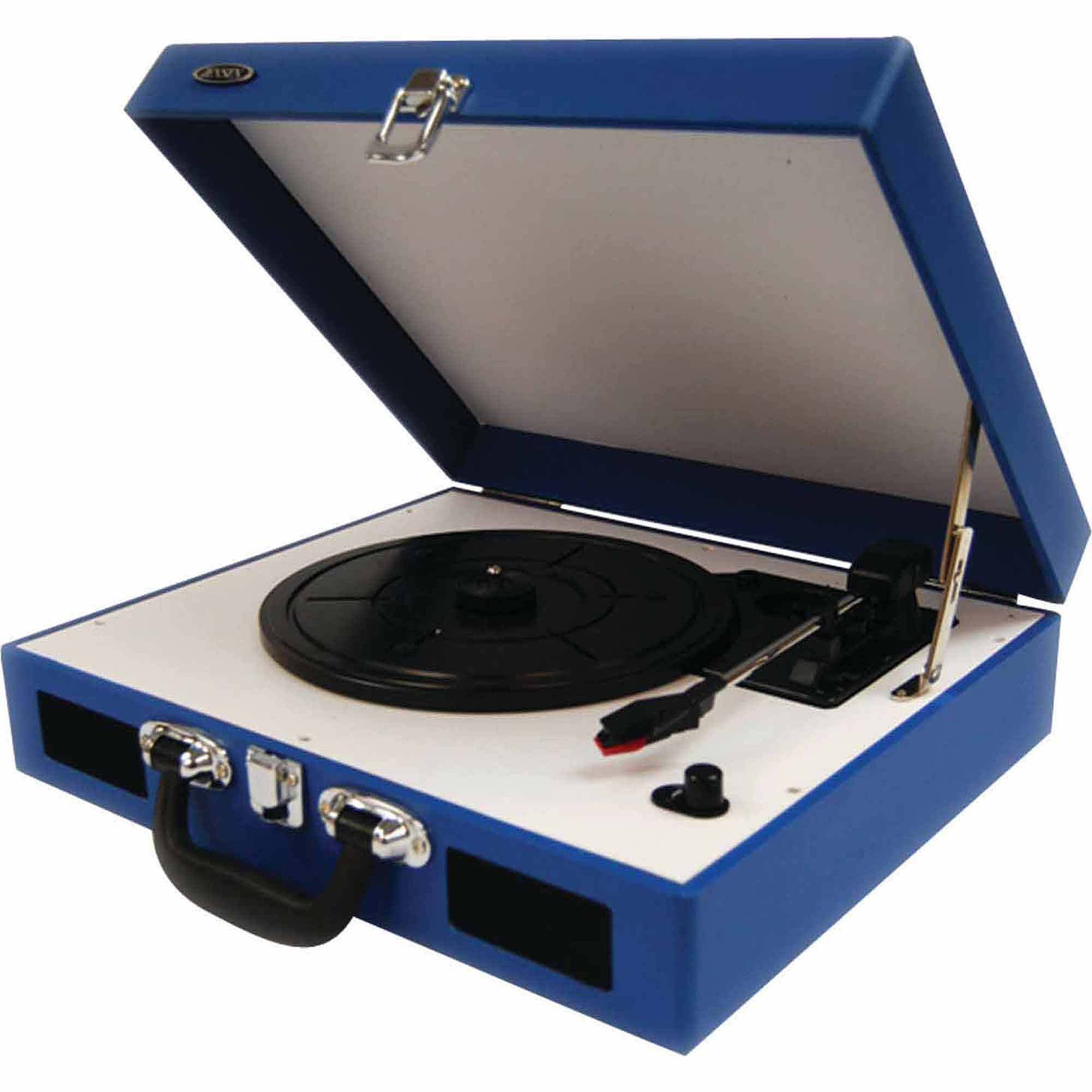 Jensen JTA-410-BL Portable 3-Speed Stereo Turntable with Built-In Speakers, Blue