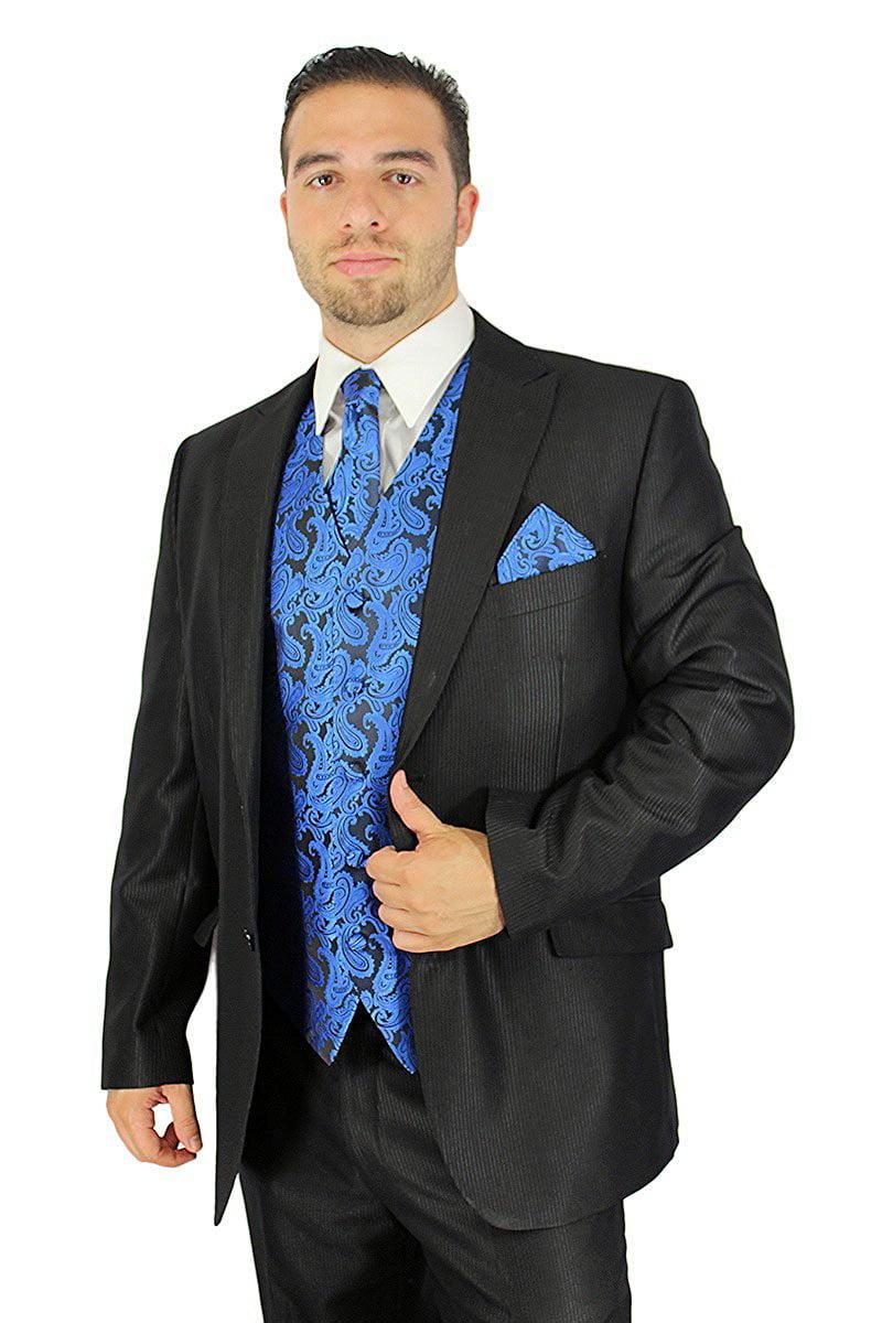 Enimay Men's Combo Pack 3pc Set Paisley Vest Tie Hankerchief Prom Wedding Formal Aqua Size S