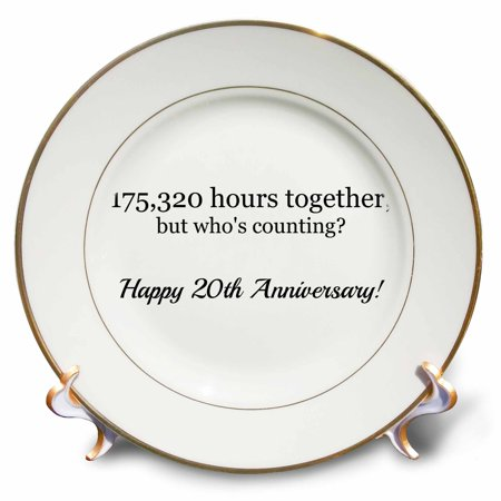 20th Anniversary Plate - 3dRose Happy 20th Anniversary - 175320 hours together - Porcelain Plate, 8-inch