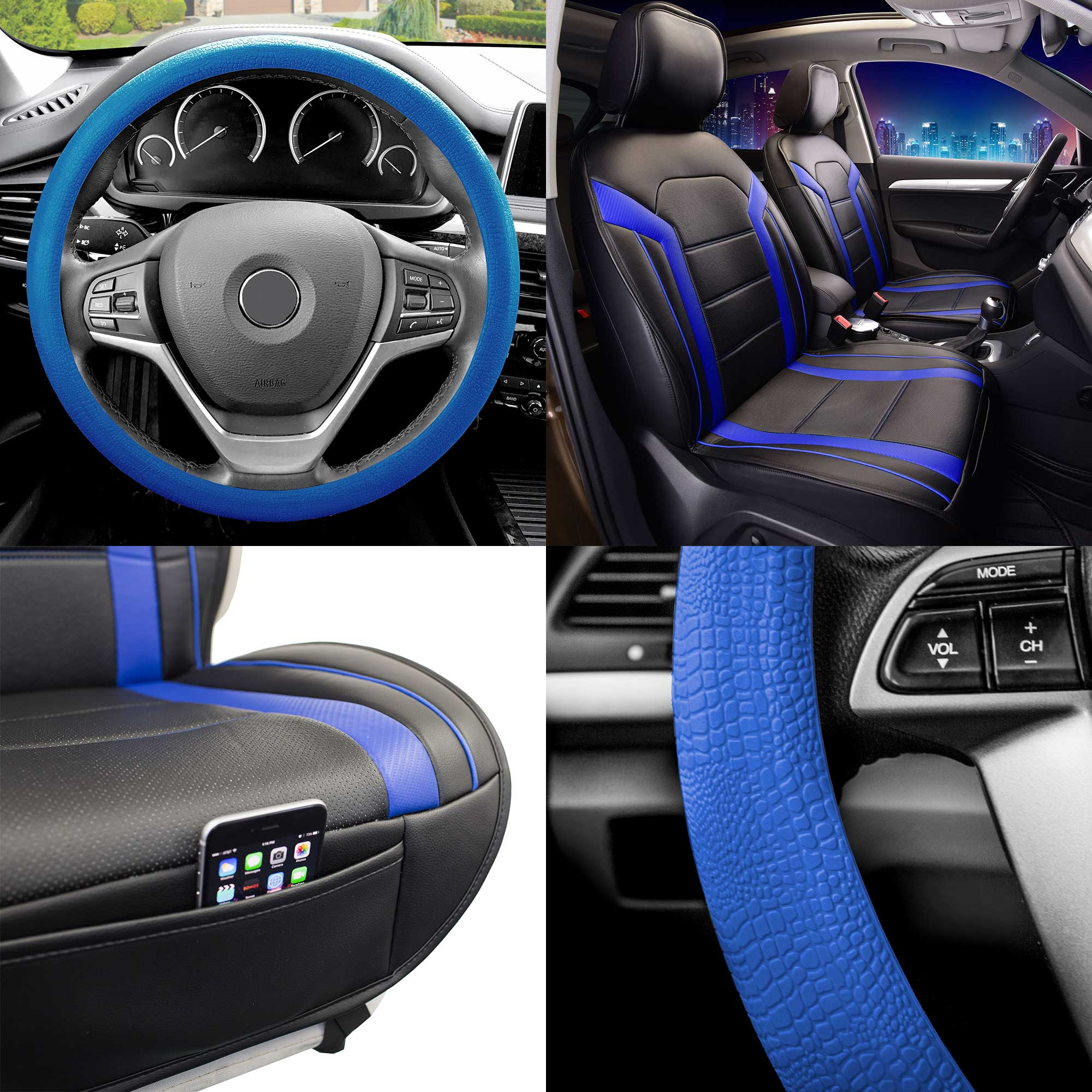 FH Group, Faux Leather Seat Covers Cushion Pad Front Bucket Blue w/Steering Cover