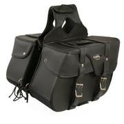 Black PVC Vinyl Zip Off Motorcycle Saddle Bags