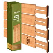 Adjustable Bamboo Drawer Dividers 17-22in Organizers - Expandable Drawer Organization Separators For Kitchen, Dresser, Bedroom, Bathroom and Office, (4-Pack, Natural)