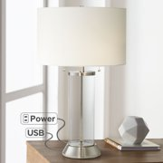 Possini Euro Design Coastal Table Lamp with USB and AC Power Outlet in Base Silver Clear Glass Column Drum Shade for Living Room