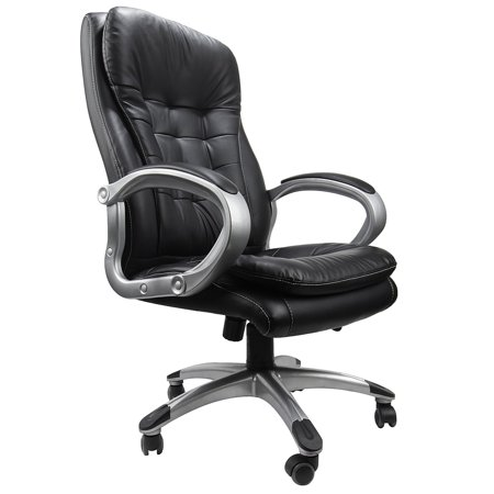 SumacLife Black High Back Executive Office Chair With Ergonomic Lumbar Support, Adjustable Height And Tilt, Vegan Leather Upholstery Back Synchro Tilt Chair