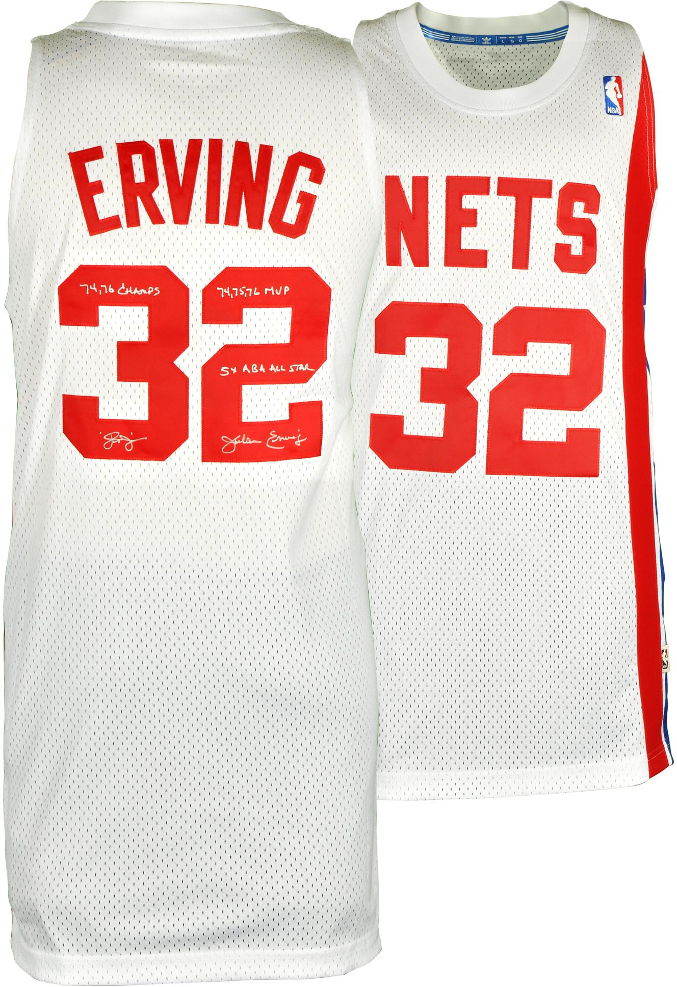 purchase cheap 71d9a 8254f Julius Erving New Jersey Nets Autographed White Throwback ...
