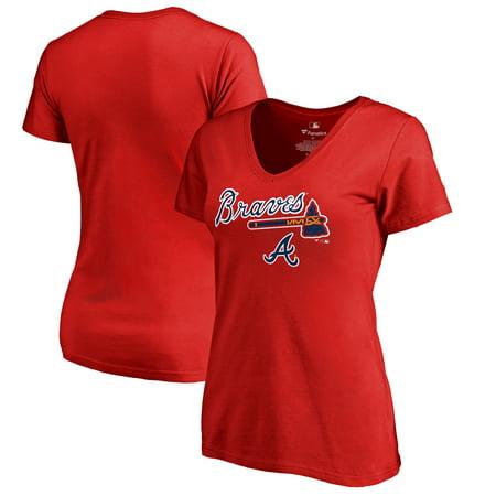 Atlanta Braves Fanatics Branded Women's Team Lockup T-Shirt - Red