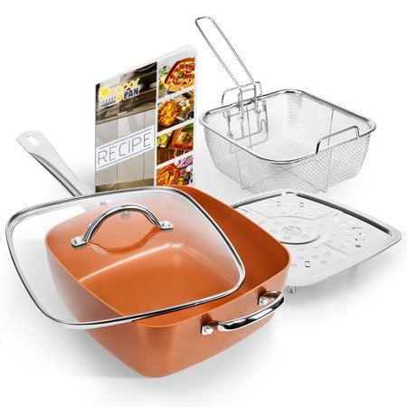 SHINEURI 5 Pcs Nonstick Ceramic Copper Deep Square Pan Cookware Set, 9.5 Inch Nonstick Copper Pan with Glass Lid, Frying Basket, Steamer Roast Rack and Recipe (Best Cookware Set For Glass Top Stove)
