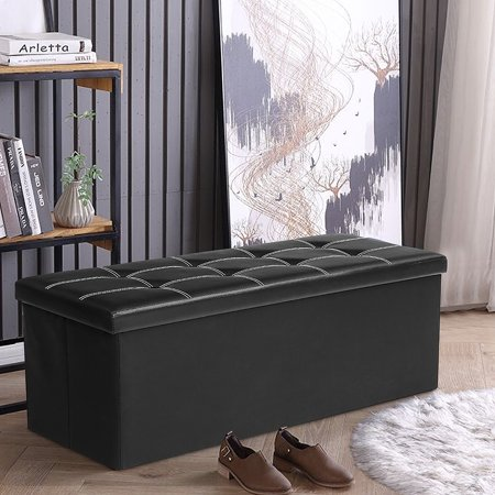 43''x15''x15'' Folding Storage Ottoman Bench Faux Leather Foot Rest Stool Seat Padded Bench Space Saving,Quick and Easy Assembly,Black / Brown ()
