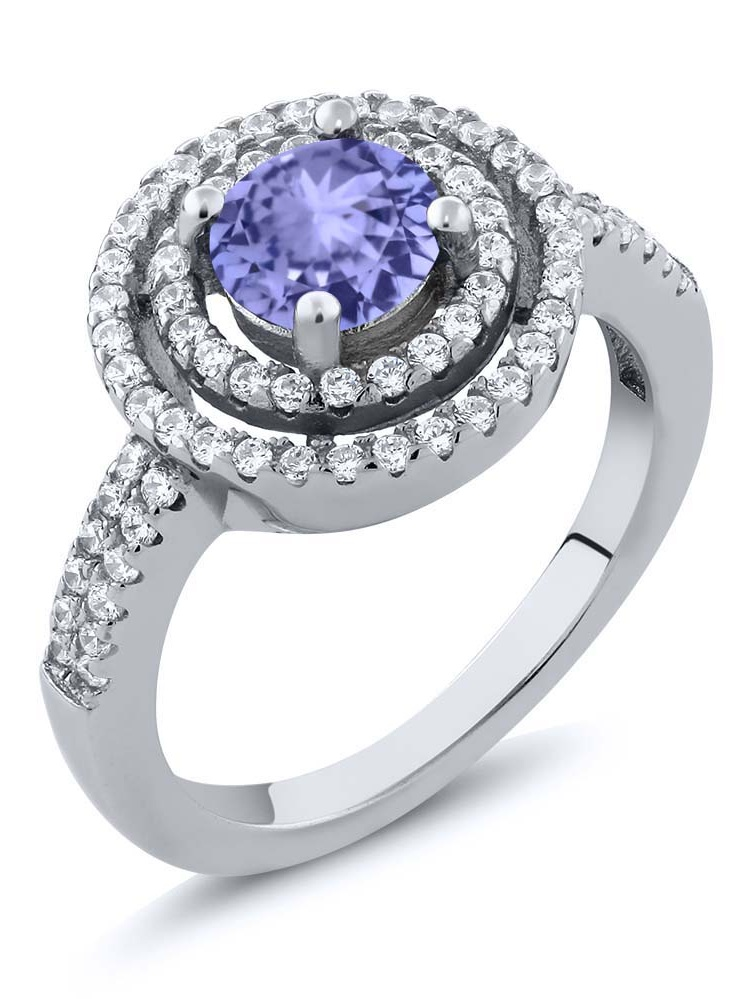 1.86 Ct Round Blue Tanzanite 925 Sterling Silver Ring by