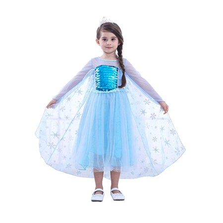 Frozen Elsa Priness Dress Up Costume Cosplay Dress for Girls