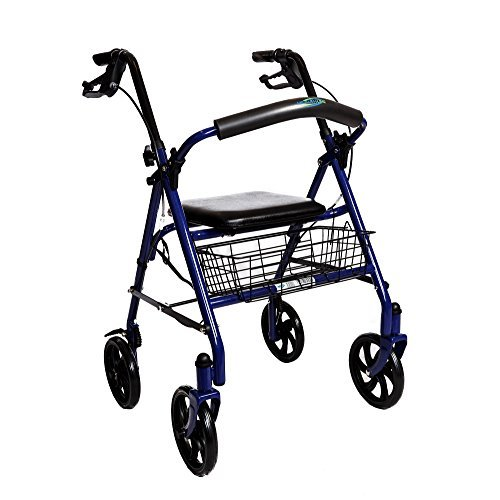 """Walker Rollator with 7.5"""" Four Wheels Fold Up Removable Back Support (BLUE)"""