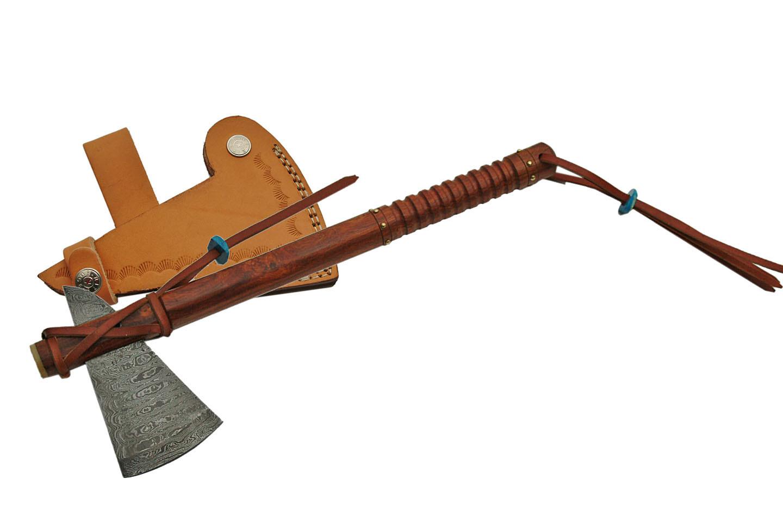 Native American Tomahawk   Damascus Steel Blade Hatchet Hand Ax + Leather Sheath by Rite Edge