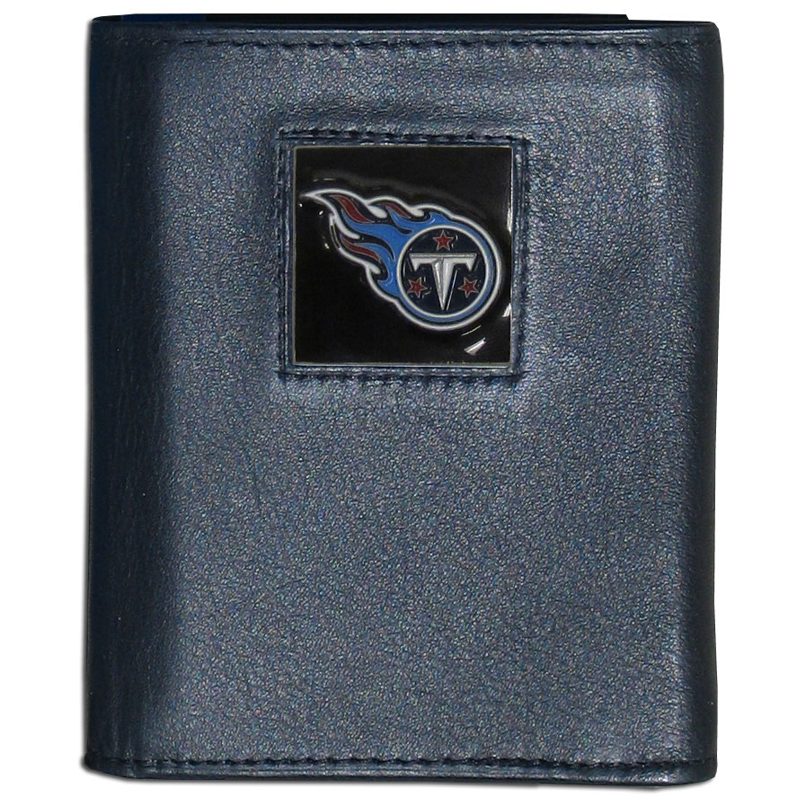 Tennessee Titans Official NFL  Leather Trifold Wallet in Window Box by Siskiyou