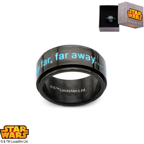 "Disney Stainless Steel Star Wars ""A long time ago…"" Black IP Spinner Ring"