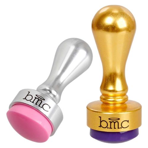 BMC 2pc Cute Round Metallic Squishy Silicone Nail Polish Art Stamper Bundle