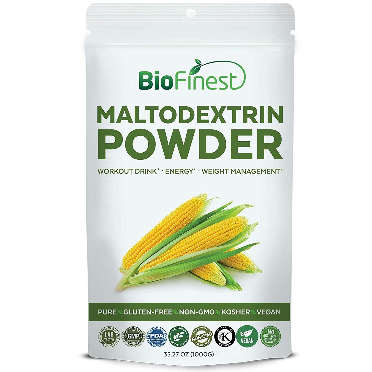 Biofinest Maltodextrin Powder - Pure Gluten-Free Non-GMO Kosher Vegan Friendly - Supplement for Pre-Workout, Weight Management, Energy, Skin Health (1000g)